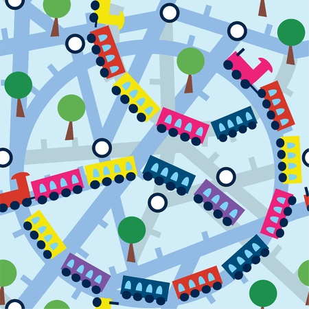Seamless pattern with funny trains and trees Vector