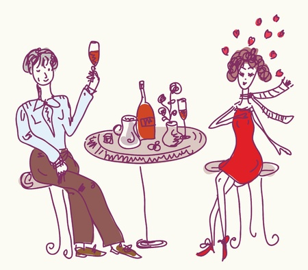 Date in the cafe cartoon Vector