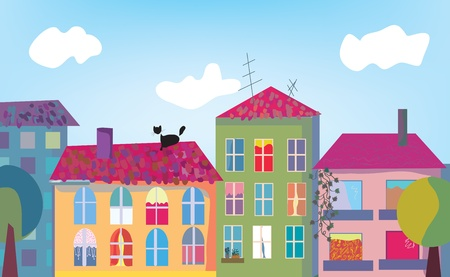 house cat: Town and houses facades cartoon Illustration