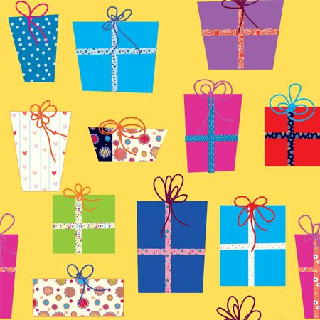 wrapper: Seamless pattern with gifts cartoon