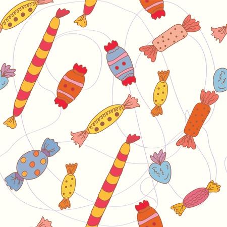 Cartoon seamless wallpaper with candies  Vector