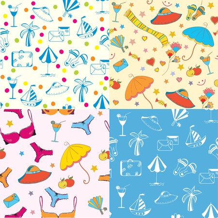Sea funny seamless patterns set Stock Vector - 10118069