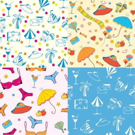 Sea funny seamless patterns set Vector