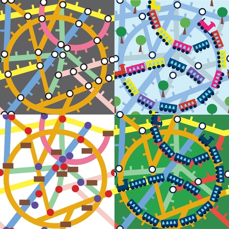 Trains and subway seamless pattern set Stock Vector - 10109179