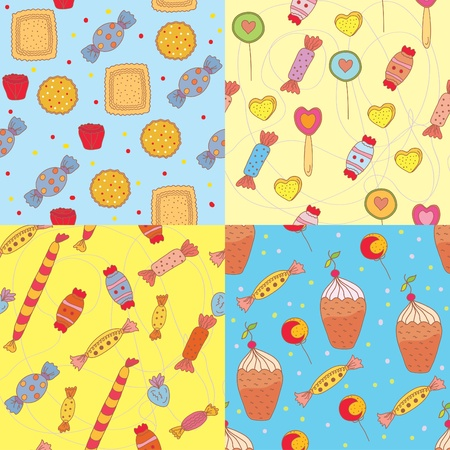 Seamless patterns with sweets set Stock Vector - 10118068