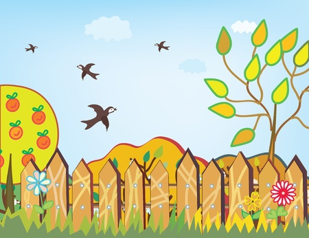 Autumn background with birds and fence Vector