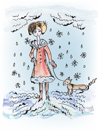 upset woman: Sad girl with dog under the snow and rain