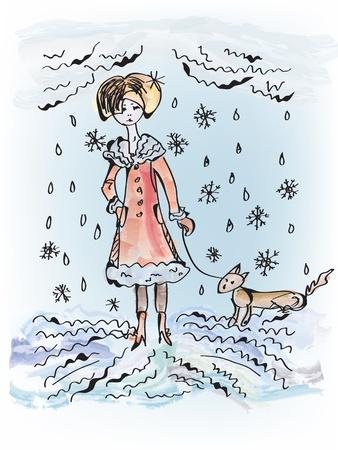 Triest meisje met hond onder de sneeuw en regen