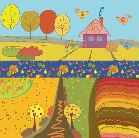 Autumn banners cartoon set Stock Vector - 10203642