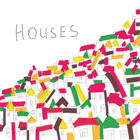 Background with houses in artistic style Illustration