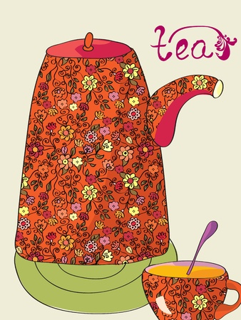 Tea card with pot and cup Vector