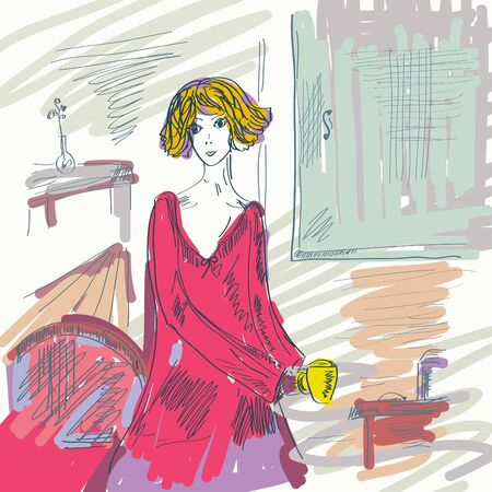 Girl in the room with cup of tea Vector