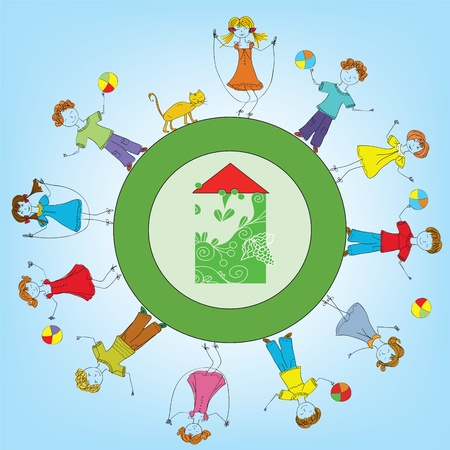 hands holding earth: Happy children around the house Happy children around the house cartoon