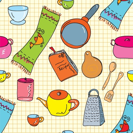 Kitchen utensils seamless funny pattern Vector