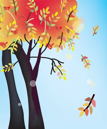 Fall tree card with leaves Vector