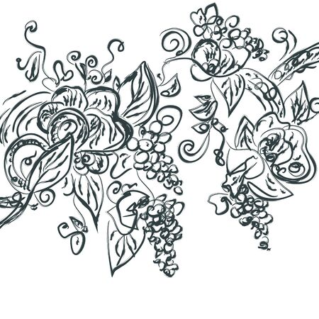 paiting: Floral hand drawn card with grape vine