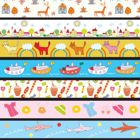 flowers cat: Funny kids borders with patterns