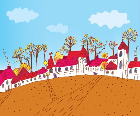 blue church: Autumn town sketch cartoon