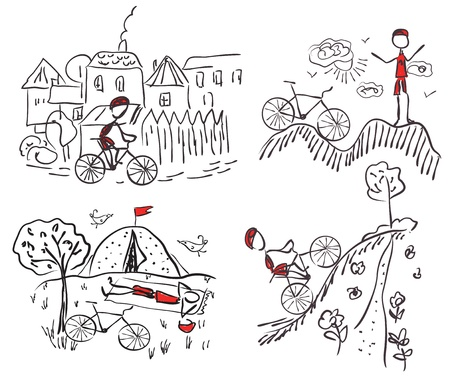 Tourism bycicle doodle sketches