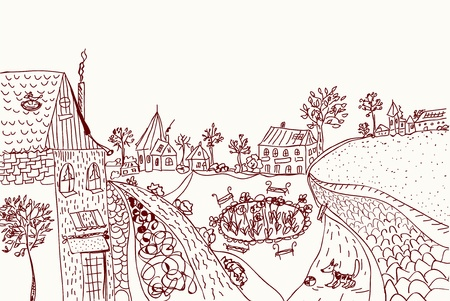 a rural community: Town sketch of old style illustration