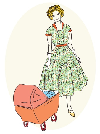 green dress: Retro mother with pram painting