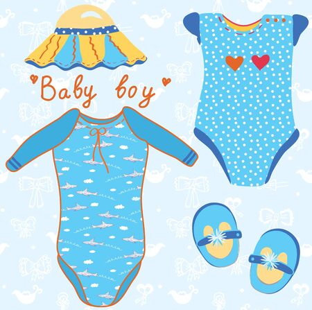 Baby garments set for boy cartoon Vector