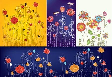 whimsical: Set of floral designs with poppies