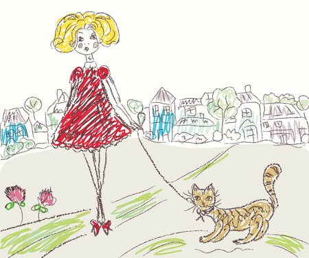 Girl with cat kids drawing cartoon