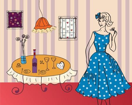 Retro girl in the room interior Vector