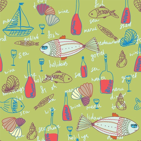 Restaurant seamless pattern with fishes and bottles Stock Vector - 10555795