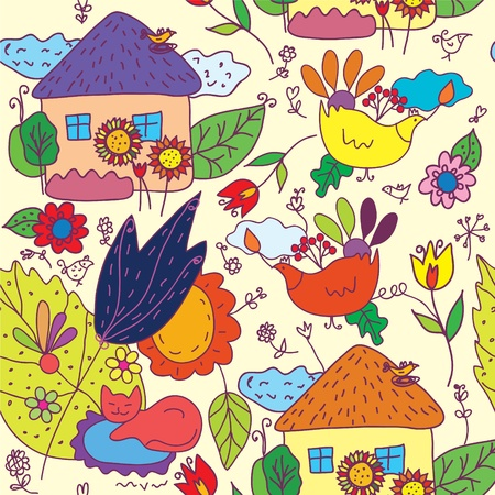 viburnum: Seamless pattern with houses, flowers, birds in etnic style