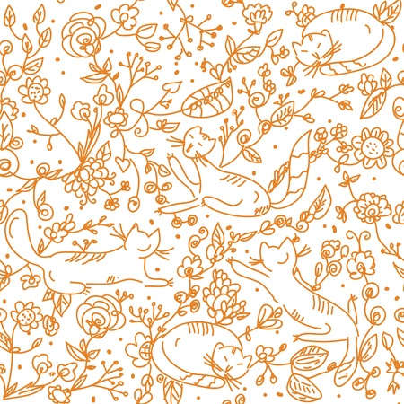 Floral seamless wallpaper with cats cartoon Vector