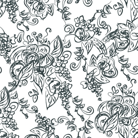 black grape: Artistic seamless pattern with grape vine