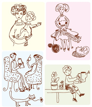 Family scenes cartoon sketches Vector