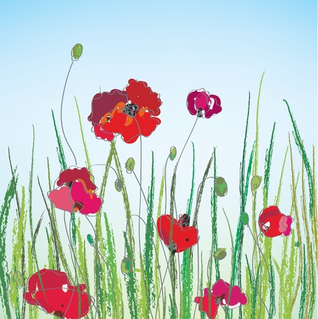 garden scenery: Poppies hand-drawn landscape with grass Illustration