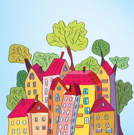 ruchome: Whimsical domy i drzewa w mieście