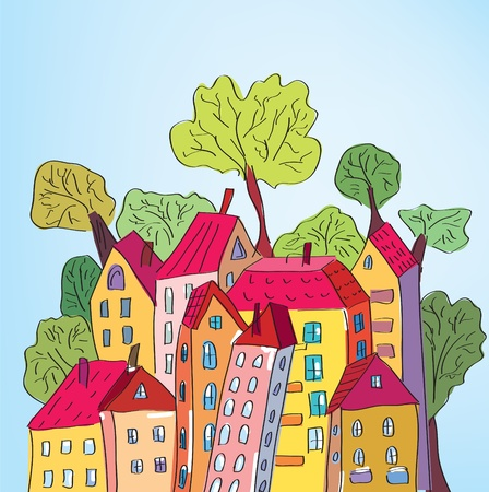 moving home: Whimsical houses and trees in the town Illustration