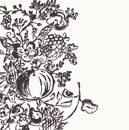 pear tree: Autumn graphic template with flowers and fruits Illustration