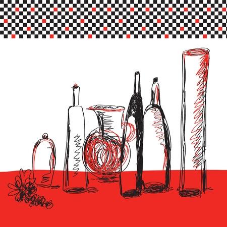 harbour: Bottiglie di carte artistiche per il menu Vettoriali