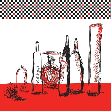 Bottles artistic card for menu Vector