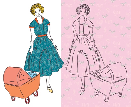 retro housewife: Woman with pram vintage cards Illustration