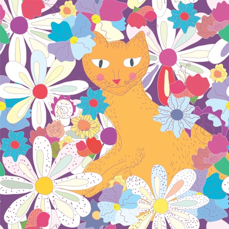 Seamless pattern with cat and flowers Vector