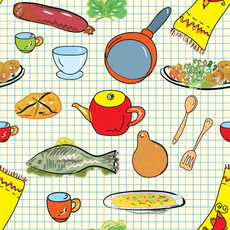 back kitchen: Seamless pattern with crockery and dishes Illustration