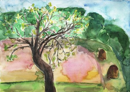 rocky mountain juniper: Watercolor landscape with apple tree Stock Photo