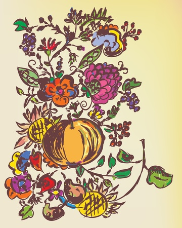 Autumn floral graphic background with fruits Stock Vector - 10710615