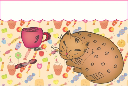 Background with cat, cup and sweets cartoon Vector