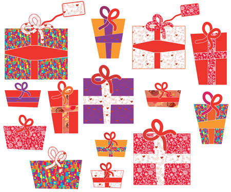 Set of gifts with pattern and bows Vector