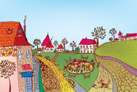 residential neighborhood: Summer fairytale town street cartoon