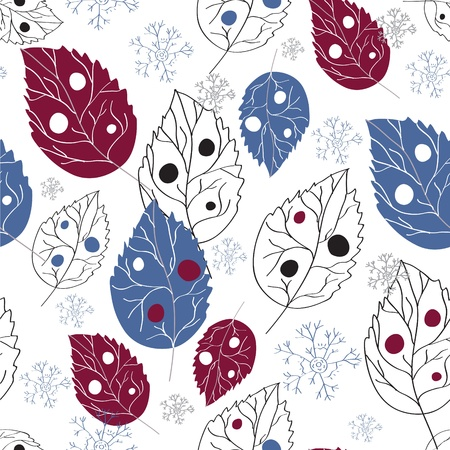 Seamless wallpaper with leaves and snow in winter Stock Vector - 10710614