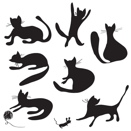 Cat silhouettes set funny cartoons Vector